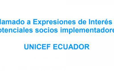 UNICEF ECUADOR: LLAMADO EXPRESIONES DE INTERÉS- PROGRAMA PAÍS UNICEF ECUADOR 2019-2022