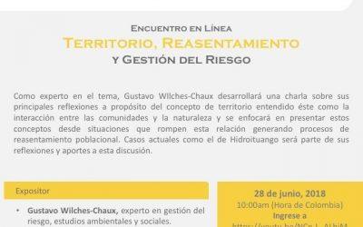 """ERES:  Encuentro en Línea este 28 de junio """"Territorio, Reasentamiento y Gestión del Riesgo"""""""