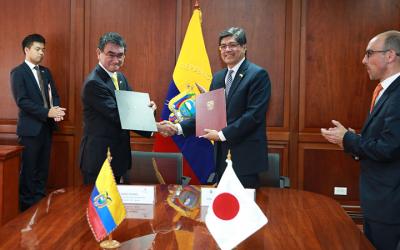 Ecuador y Japón firman acuerdo de cooperación no reembolsable en prevención y planificación de desastres naturales